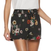 Juniors' Joe B Print Tie Front Soft Shorts