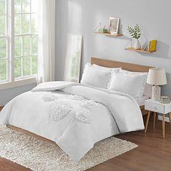 Intelligent Design Brianna Solid Ruffle Floral Comforter Set