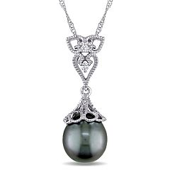 Stella Grace 14k White Gold Dyed Tahitian Cultured Pearl & Diamond Accent Vintage Drop Pendant