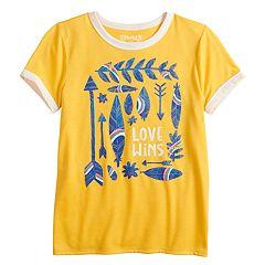 Girls 7-16 & Plus Size Mudd® Short Sleeve Graphic Ringer Tee