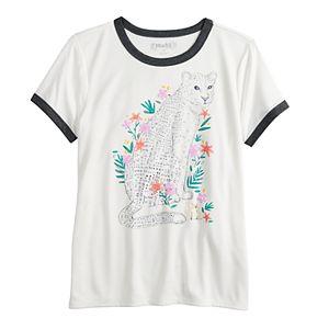 Girls 7-16 & Plus Size Mudd Short Sleeve Graphic Ringer Tee
