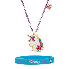 Girls 4-16 Unicorn Necklace & Stretch Bracelet Set