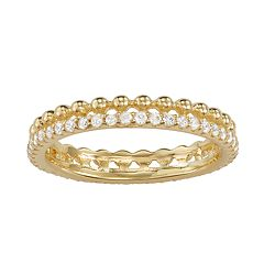 14k Gold Over Silver Cubic Zirconia Milgrain Band