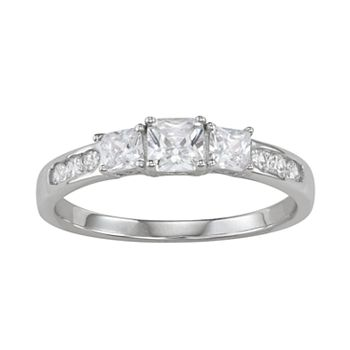 84dfbede4 Sterling Silver Cubic Zirconia 3-Stone Promise Ring