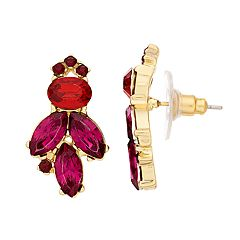 LC Lauren Conrad Gold Tone Red & Pink Simulated Crystal Statement Button Earrings