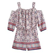Girls 7-16 My Michelle Cold-Shoulder Printed Romper
