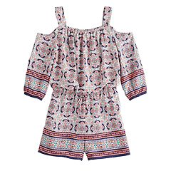 536941cd046 Girls 7-16 My Michelle Cold-Shoulder Printed Romper