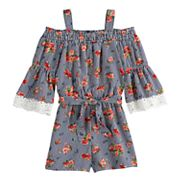 Girls 7-16 My Michelle Smocked Cold-Shoulder Romper