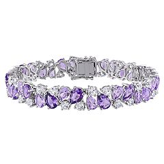 Stella Grace Sterling Silver Rose de France Amethyst & Created White Sapphire Cluster Bracelet