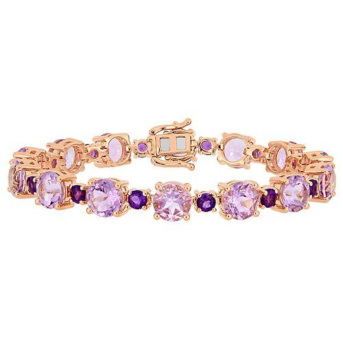 Stella Grace Rose Plated Sterling Silver Rose de France & Amethyst Bracelet