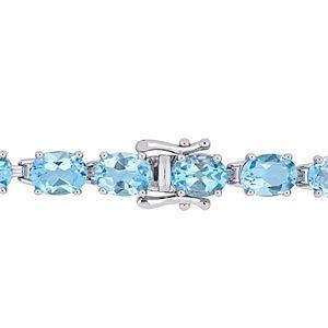 Stella Grace Sterling Silver Blue Topaz Tennis Bracelet