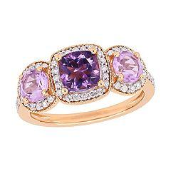 Stella Grace Rose de France Amethyst & 1/3 Carat T.W. Diamond Ring