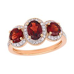 Stella Grace Garnet & 1/3 Carat T.W. Diamond Ring