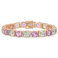 Stella Grace Green Amethyst & Rose de France Bracelet