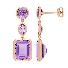 Stella Grace Rose de France & Amethyst Drop Earrings