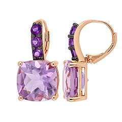 Stella Grace Rose de France & Amethyst Drop Earrings