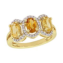Stella Grace Citrine & 1/5 Carat T.W. Diamond Halo Ring