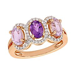 Stella Grace Amethyst & 1/5 Carat T.W. Diamond Halo Ring