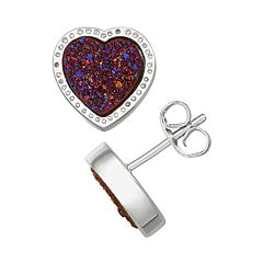 Harper Stone Silver Plated Drusy Heart Stud Earrings