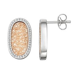 Harper Stone Silver Plated Champagne Drusy Oval Stud Earrings