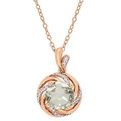 Stella Grace 18k Rose Gold Over Silver Green Quartz & Diamond Accent Pendant