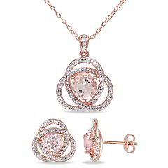 Stella Grace 18k Rose Gold Over Silver 1/5 Carat T.W. Diamond & Morganite Pendant & Earring Set