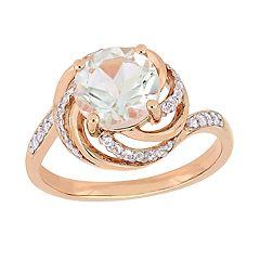 Stella Grace 18k Rose Gold Over Silver Green Quartz & White Topaz Halo Ring