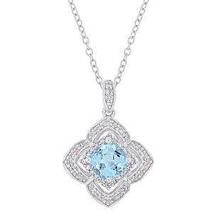 Stella Grace Sterling Silver Blue Topaz & 1/10 Carat T.W. Diamond Pendant