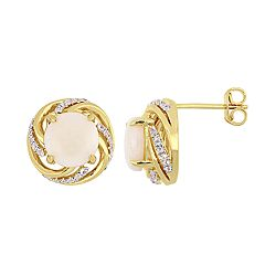 Stella Grace 18k Gold Over Silver White Opal & White Topaz Halo Stud Earrings
