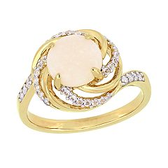 Stella Grace 18k Gold Over Silver Opal & Diamond Accent Halo Ring