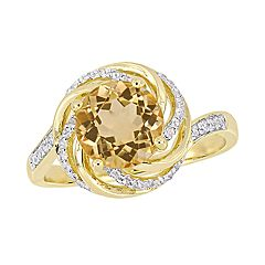 Stella Grace 18k Gold Over Silver Citrine & Diamond Accent Halo Ring
