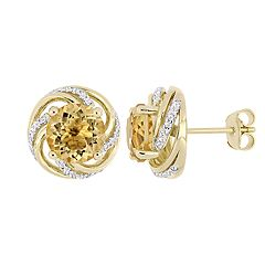 Stella Grace 18k Gold Over Silver Citrine & White Topaz Earrings
