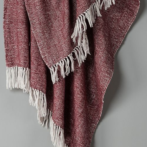 Rizzy Home Herringbone Woven Throw