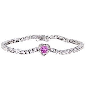Stella Grace Sterling Silver Pink & White Sapphire Heart Bracelet