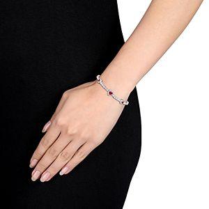 Stella Grace Sterling Silver Ruby & White Sapphire Heart Bracelet