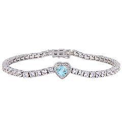 Stella Grace Sterling Silver Blue Topaz & White Sapphire Heart Bracelet