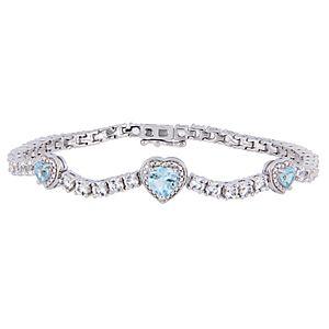 Stella Grace Sterling Silver Blue Topaz & White Sapphire Triple Heart Bracelet