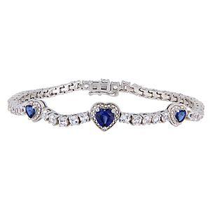 Stella Grace Sterling Silver Blue & White Sapphire Triple Heart Bracelet