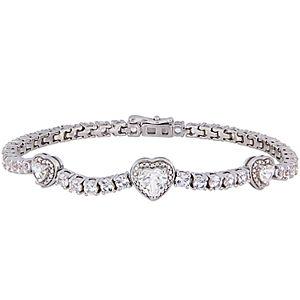 Stella Grace Sterling Silver White Sapphire Triple Heart Bracelet