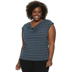 Plus Size Dana Buchman Travel Anywhere Print Cowlneck Top