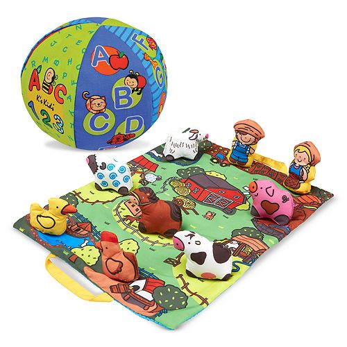 Melissa & Doug K's Kids 2-in-1 Talking Ball and Take-Along Farm Play Mat
