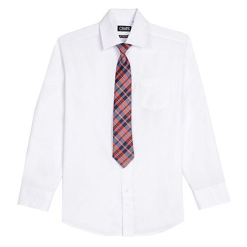Boys Husky 8-20 Chaps Shirt & Tie Set