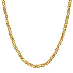 Primavera 24k Gold Over Sterling Silver Mesh Braided Chain Necklace