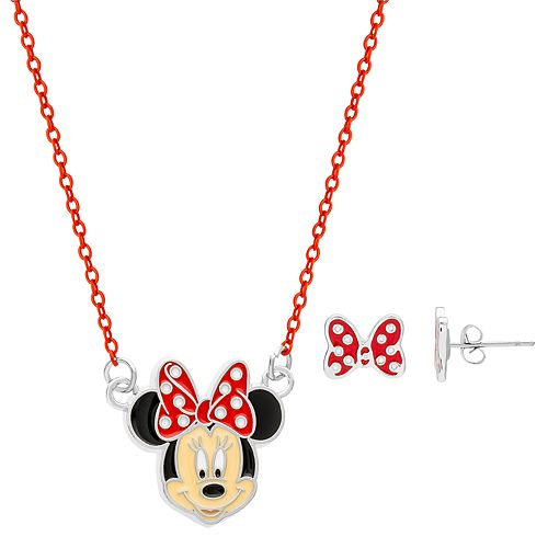 Disney's Minnie Mouse Girl 4-16 Necklace & Bow Stud Earring Set