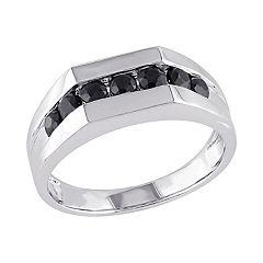 Stella Grace Sterling Silver Black Sapphire Men's Ring