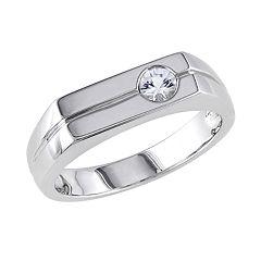 Stella Grace Sterling Silver White Sapphire Men's Wedding Band