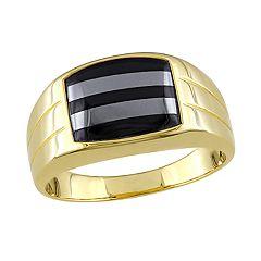 Stella Grace Gold Over Silver Black Onyx & Hematite Men's Ring