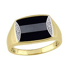 Stella Grace Gold Over Silver Black Onyx Hematite & Diamond Accent Men's Ring