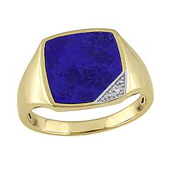 Stella Grace Gold Over Silver Lapis & Diamond Accent Men's Ring