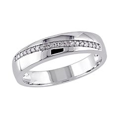 Stella Grace Sterling Silver 1/10 Carat T.W. Diamond Men's Ring
